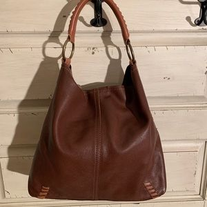 Lucky brand slouchy leather whip stitch hobo